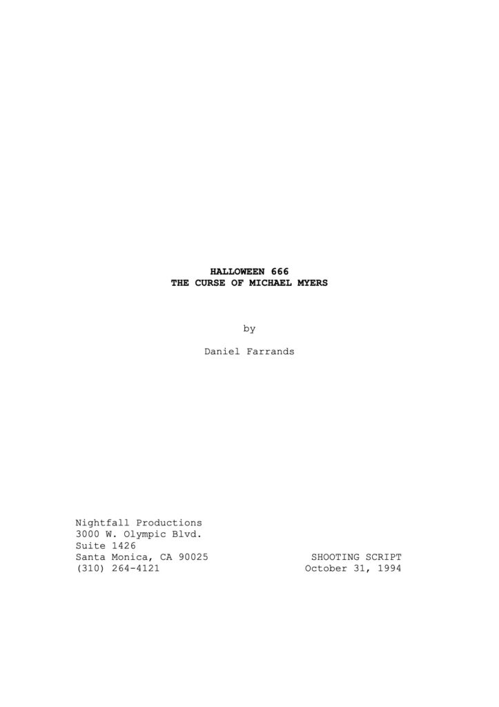 Halloween: The Curse of Michael Myers - Shooting Script